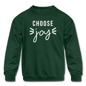 Choose Joy Kids' Crewneck Sweatshirt - forest green