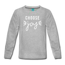 Load image into Gallery viewer, Choose Joy Girls Long Sleeve T-Shirt - heather gray