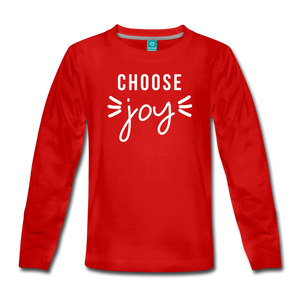 Choose Joy Girls Long Sleeve T-Shirt - red