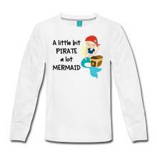 Load image into Gallery viewer, Mermaid Pirate Girls Long Sleeve T-Shirt - white
