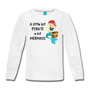 Mermaid Pirate Girls Long Sleeve T-Shirt - white