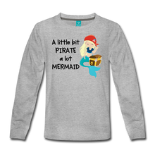Load image into Gallery viewer, Mermaid Pirate Girls Long Sleeve T-Shirt - heather gray