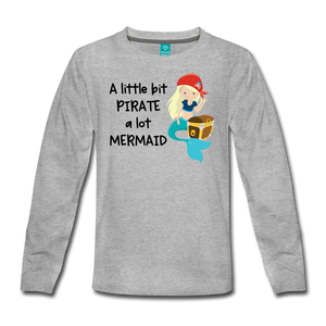 Mermaid Pirate Girls Long Sleeve T-Shirt - heather gray