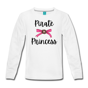 Pirate Princess Long Sleeve Girls T-Shirt - white
