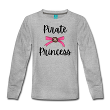 Load image into Gallery viewer, Pirate Princess Long Sleeve Girls T-Shirt - heather gray