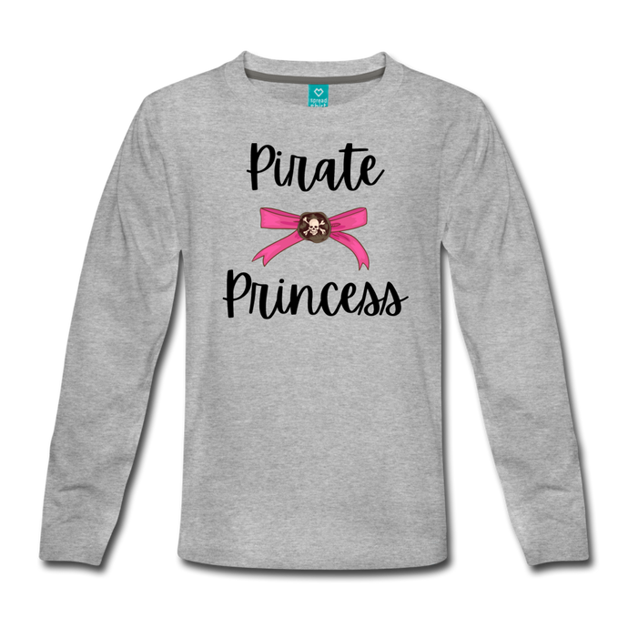 Pirate Princess Long Sleeve Girls T-Shirt - heather gray