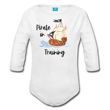 Load image into Gallery viewer, Pirate in Training Baby Organic Long Sleeve Baby Onesie - white