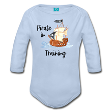 Load image into Gallery viewer, Pirate in Training Baby Organic Long Sleeve Baby Onesie - sky