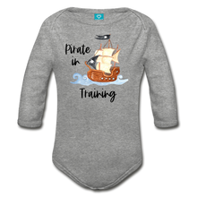 Load image into Gallery viewer, Pirate in Training Baby Organic Long Sleeve Baby Onesie - heather gray