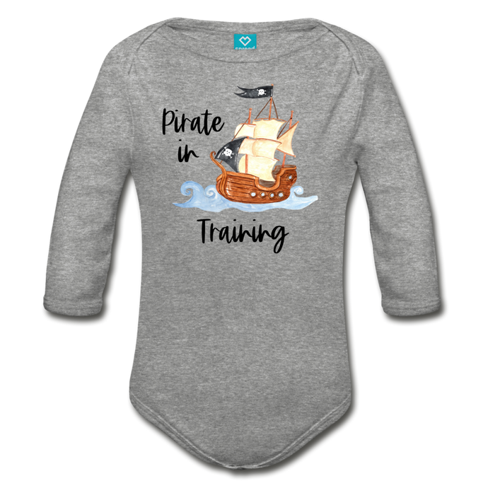 Pirate in Training Baby Organic Long Sleeve Baby Onesie - heather gray
