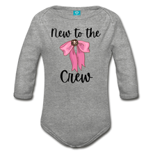 Load image into Gallery viewer, New to the Crew Baby Organic Long Sleeve Baby Girl Onesie - heather gray