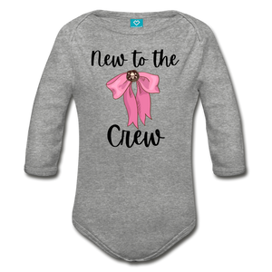 New to the Crew Baby Organic Long Sleeve Baby Girl Onesie - heather gray