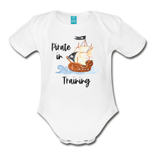 Load image into Gallery viewer, New to the Crew Organic Short Sleeve Baby Girl Pirate Onesie - white