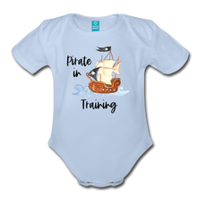 Load image into Gallery viewer, New to the Crew Organic Short Sleeve Baby Girl Pirate Onesie - sky