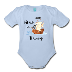 New to the Crew Organic Short Sleeve Baby Girl Pirate Onesie - sky