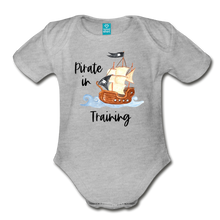 Load image into Gallery viewer, New to the Crew Organic Short Sleeve Baby Girl Pirate Onesie - heather gray