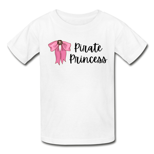 Pirate Princess Girls Cotton Youth T-Shirt - white