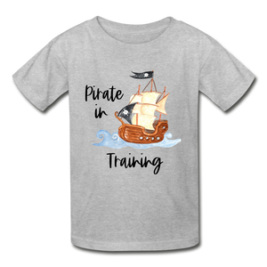 Pirate In Training Cotton Youth T-Shirt - heather gray