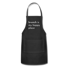 Load image into Gallery viewer, Brunch Is My Happy Place Adjustable Apron - black