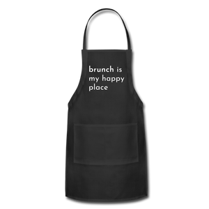 Brunch Is My Happy Place Adjustable Apron - black