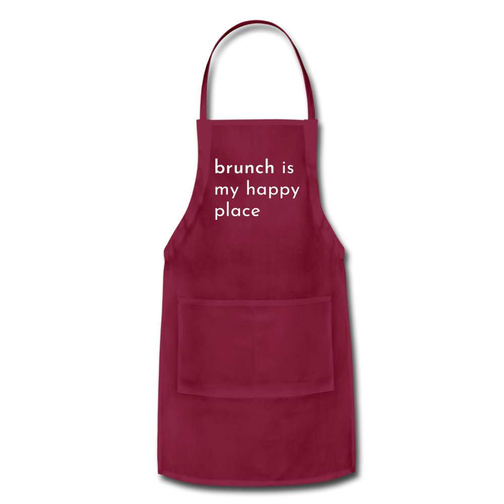 Brunch Is My Happy Place Adjustable Apron - burgundy