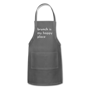 Brunch Is My Happy Place Adjustable Apron - charcoal