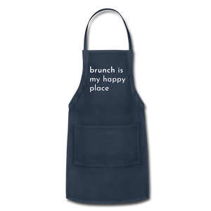 Brunch Is My Happy Place Adjustable Apron - navy