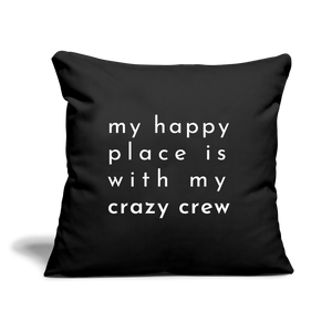 "Crazy Crew Throw Pillow Cover 18"" x 18"" - black"