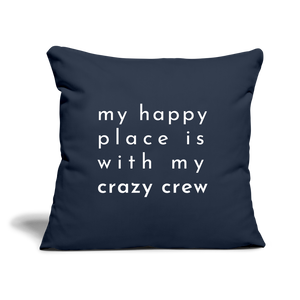 "Crazy Crew Throw Pillow Cover 18"" x 18"" - navy"