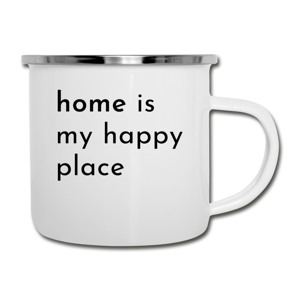 Home Is My Happy Place White Camper Mug - white