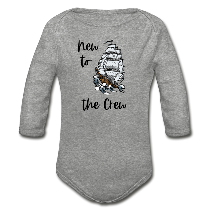 New to the Crew Long Sleeve Organic Baby Bodysuit - heather gray