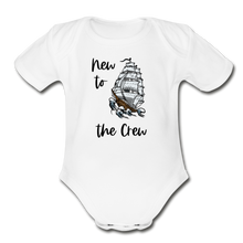 Load image into Gallery viewer, New to the Crew Short Sleeve Organic Baby Bodysuit - white