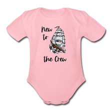 Load image into Gallery viewer, New to the Crew Short Sleeve Organic Baby Bodysuit - light pink