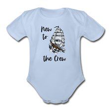 Load image into Gallery viewer, New to the Crew Short Sleeve Organic Baby Bodysuit - sky