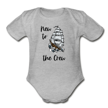 Load image into Gallery viewer, New to the Crew Short Sleeve Organic Baby Bodysuit - heather gray