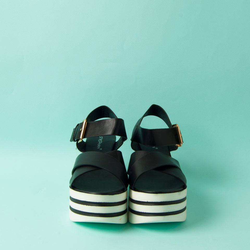 Platform Black & White Shoes