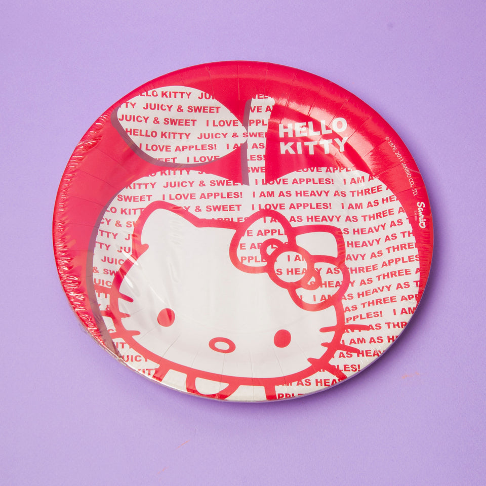 Hello Kitty Paper Plate Apple Red