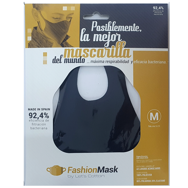 Mascarilla higiénica Fashion Purpurina Negro Noche - Combinator.es