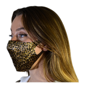 Mascarilla higiénica Fashion Terciopelo Animales Leopardo Marrón