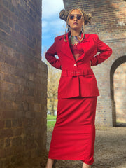 CRIMSON POWER MAXI SKIRT SUIT WITH BELT