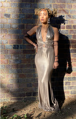 CHROME MULTI-TIE EVENING GOWN