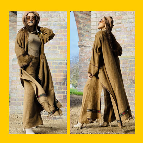 Two Photos of the Afghan Desert Maxi Coat and Trouser Suit