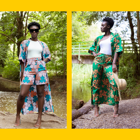 Two images of models in the Kimono, one paired with the Chioma shorts and one with the Yewande trousers