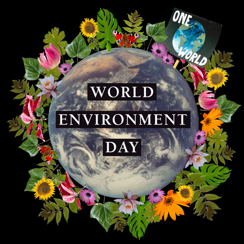 Title Image: World Environment Day written over photo of the earth surrounding by plants and flowers