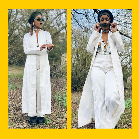 Two Photos of the Ivory Bombyx Mori Maxi Jacket and Trouser Suit