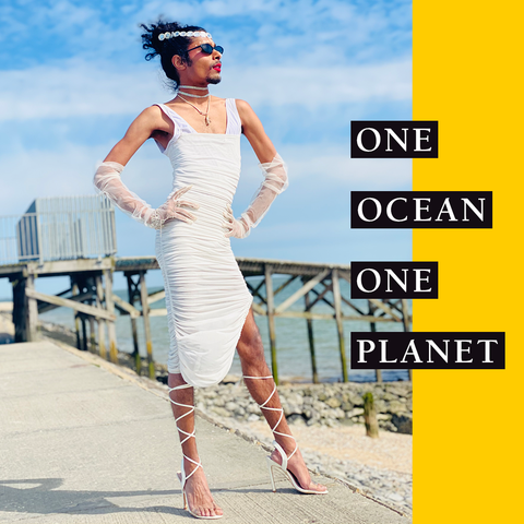 One Ocean, One Planet title image with photo of model in white dress looking out to sea
