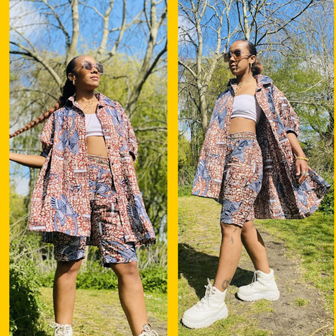 Two photos of model in the Chestnut Veikau Oversized Shirt n Shorts Co-ord