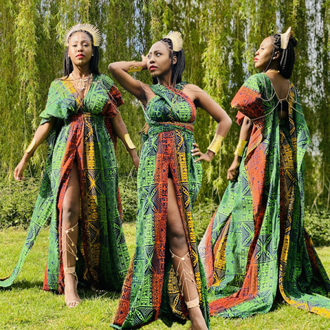 Three images of model in Multi-Wrap Maxi Dress