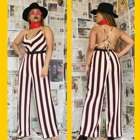 Two images of model in Black, White n Red All Over playsuit