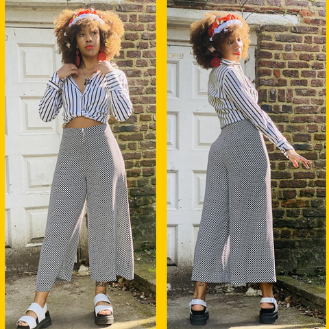 Two images of model in Snowdrop Polka Dot Culottes and striped black and white shirt